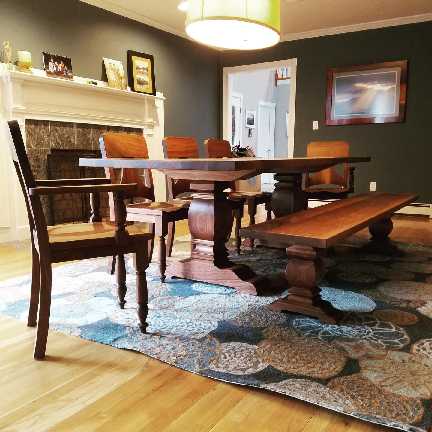 Walnut Dining Set with Bench and Five Chairs
