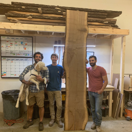 Group photo with live edge slab