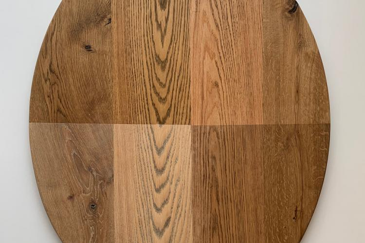 Oak slab with different finishes
