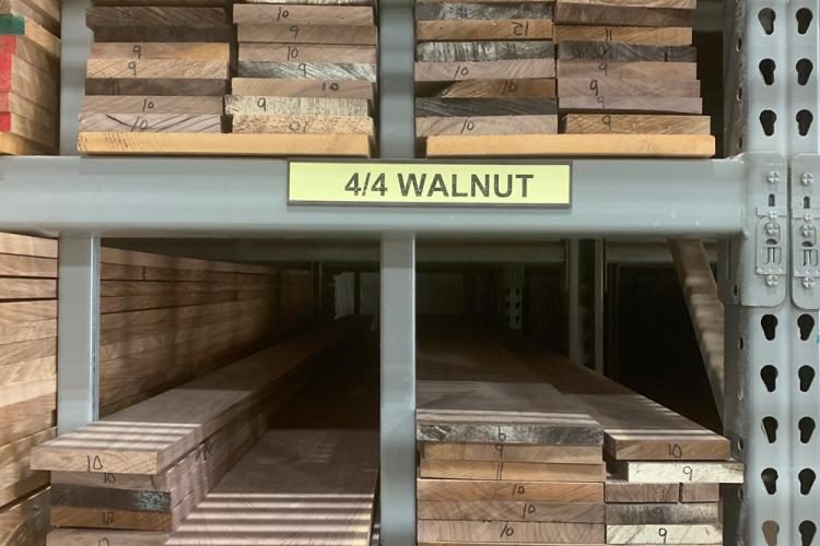 Walnut on lumber rack