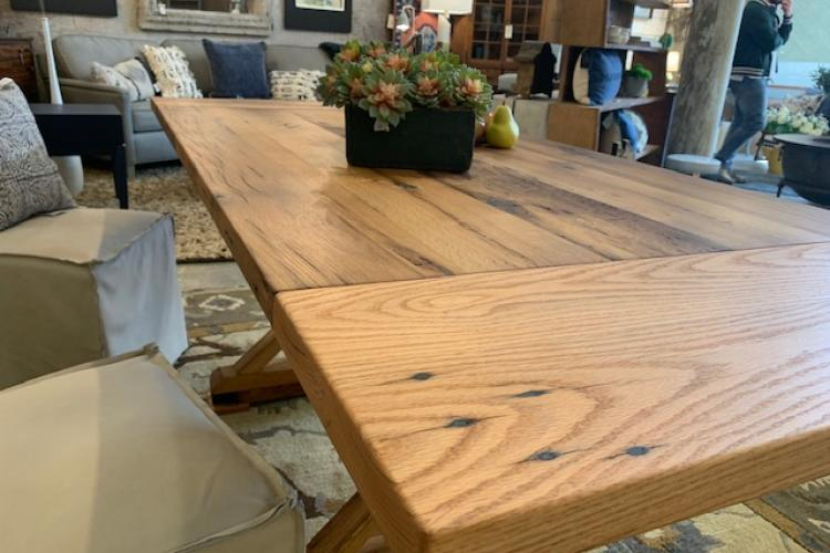 Invisible Extender System on a Reclaimed Oak Trestle Table