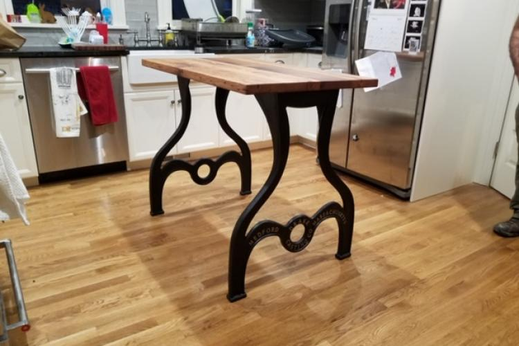 Reclaimed Oak Kitchen Island with Cast Iron Base