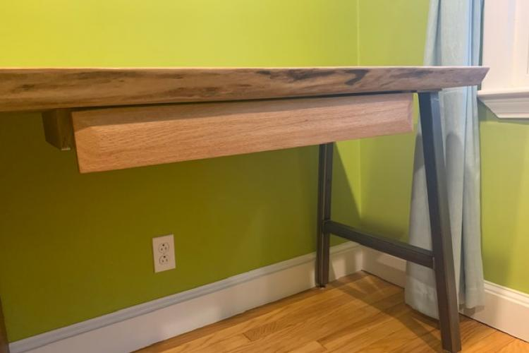 Walnut Live Edge Desk with Oak Drawer Fronts