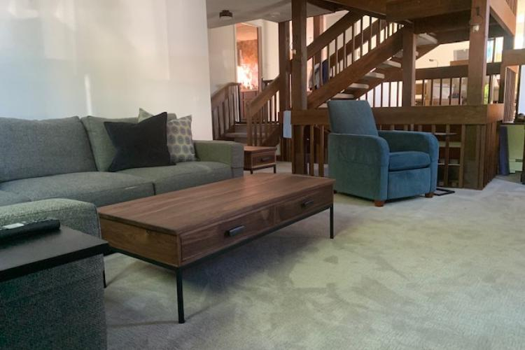 Walnut coffee table set with drawers and black steel base