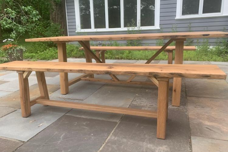 Outdoor Reclaimed Oak Farmhouse Table and Bench Set
