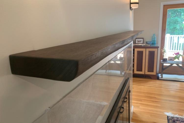 Floating Live Edge Walnut Mantle in Marblehead