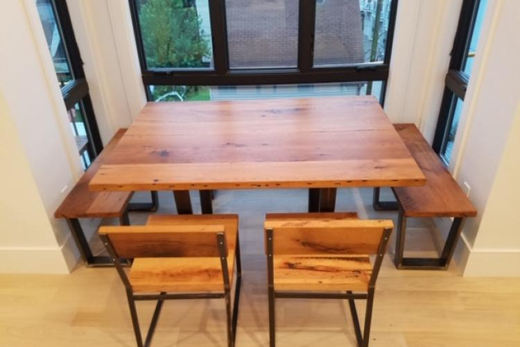 Reclaimed Oak Table with Alcove Bench and Chairs