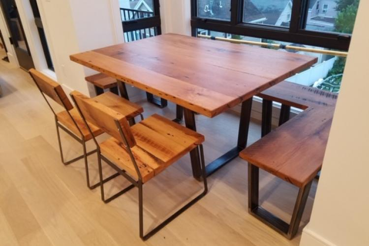 Reclaimed Oak Table With Alcove Bench And Chairs In Southie Cannon Hill