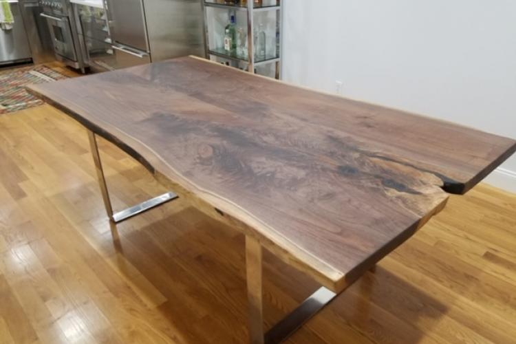 Walnut Live Edge Table with Stainless Steel Base in the South End