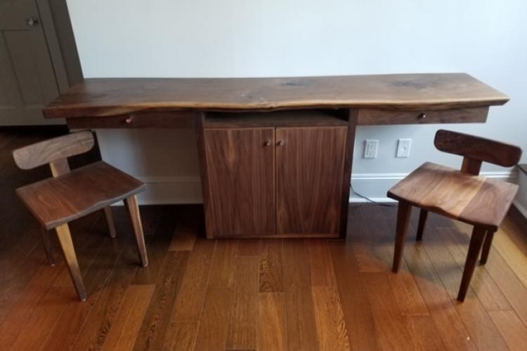 Walnut Desk with Media Cabinet and Chair Set in Back Bay