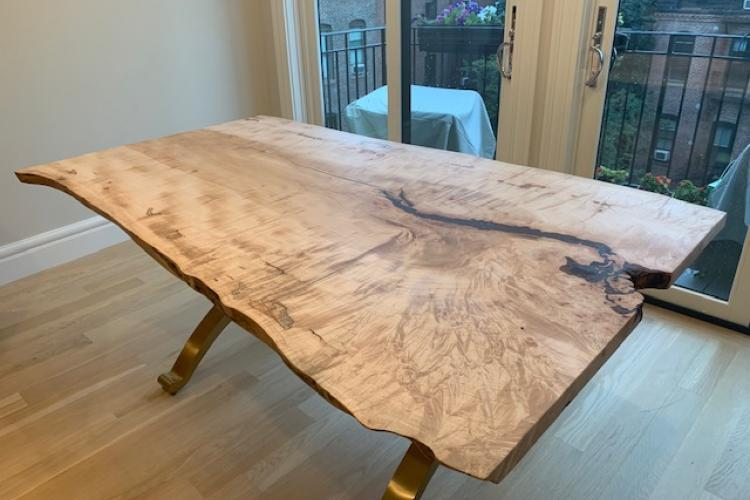 Live Edge Maple Table with Extender and Wishbone Base