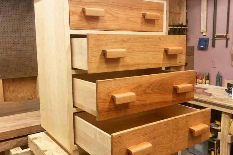 Maple Dresser with Cherry Drawer Fronts and Pulls
