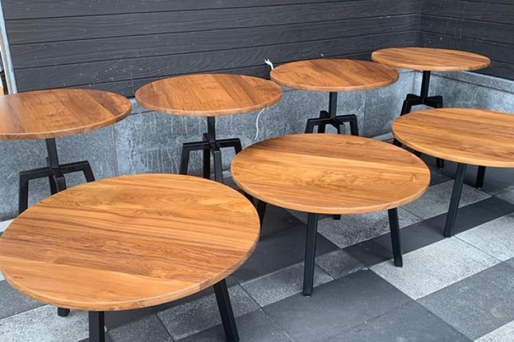 Teak Round Dining and Coffee Tables for Outdoor Use