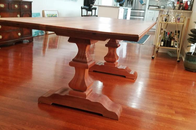 Mahogany Table with Pedestal Bases