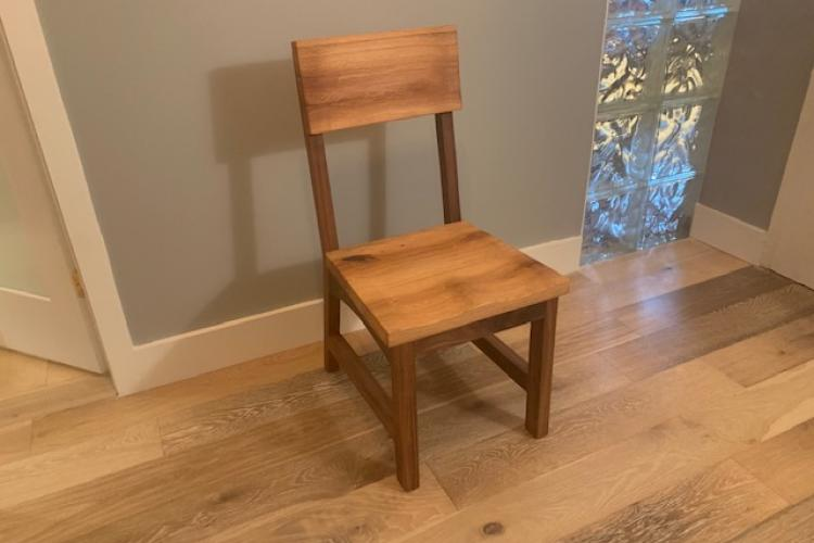 Reclaimed Oak Chair with Walnut Frame