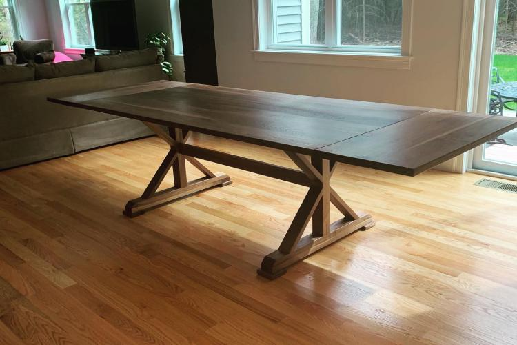 Walnut Table with I/X Trestle Base and Extenders