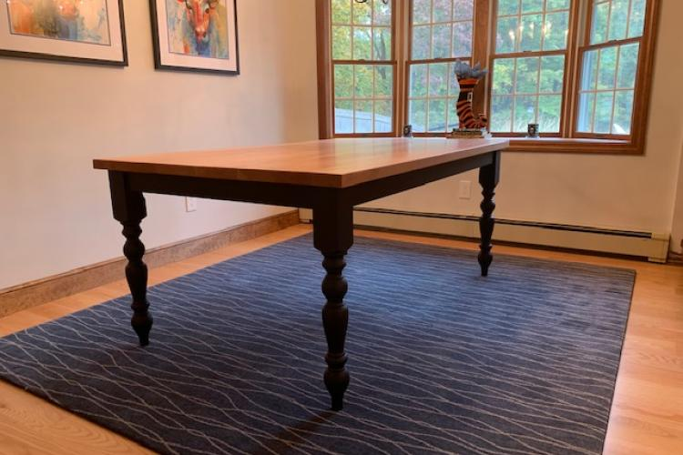 Cherry Farmhouse Table with Black Turned Legs
