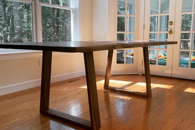 Triple-Bookmatch Walnut Live Edge Table with Wooden Base