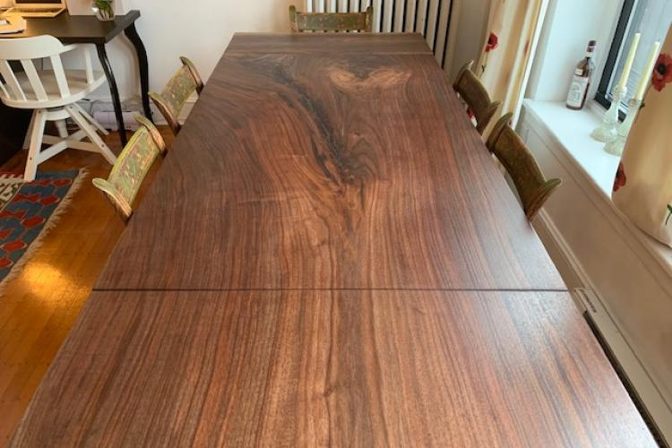 Gorgeous Walnut Table with Natural Slab Extension in Back Bay