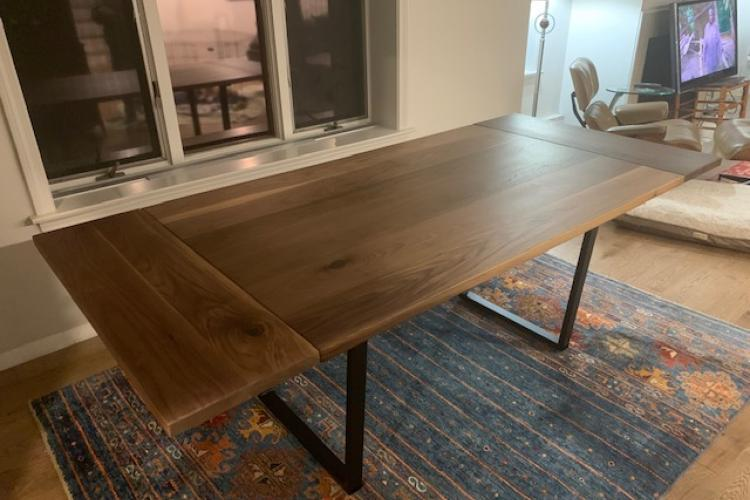 Walnut Dining Table with Trapezoid Metal Base and Extenders
