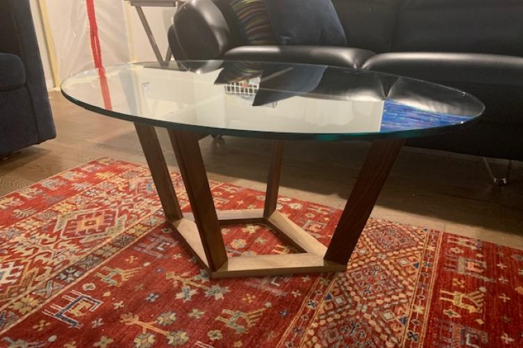 Walnut Coffee Table with Oval Glass Top