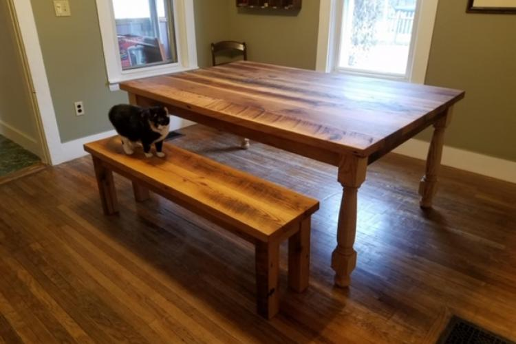 Four Foot Wide Reclaimed Oak Table and Bench