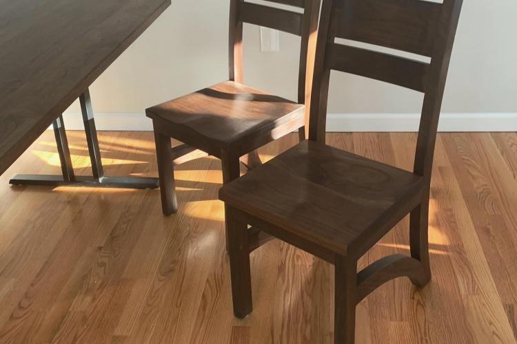 Black Walnut Dining Set with Double-I Base and Chairs