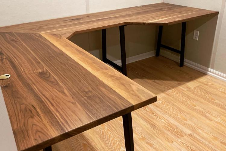 Walnut L Desk for Basement Office