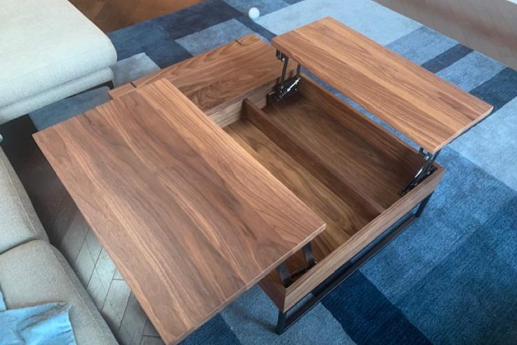 Walnut Coffee Table with Lift Hardware