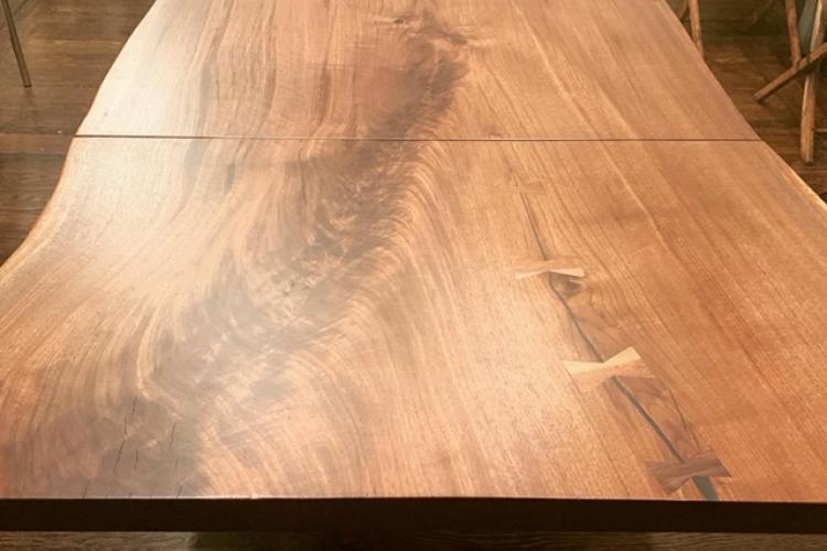 8' Live Edge Walnut Dining Table with 2' Same-Slab Extension