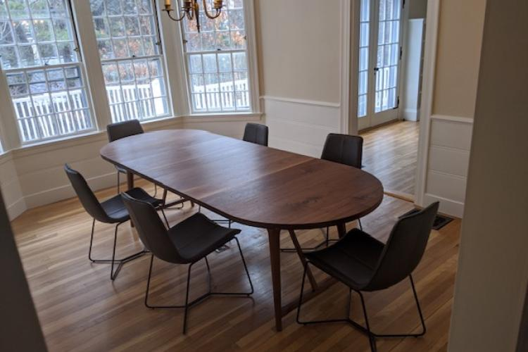 Walnut Extendable Round Table with Incredible Tapered Base