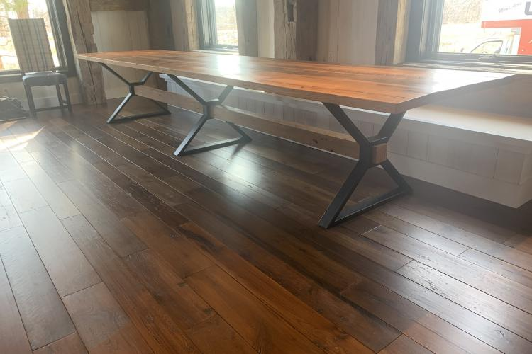 Fifteen Foot Reclaimed Oak Table in Ipswich Barn