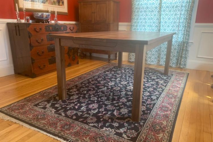 Extendable Walnut Table with Skirt and Square Legs in Newton