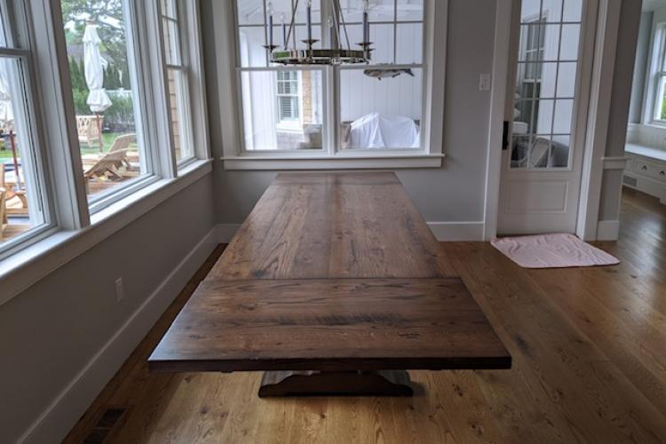 Reclaimed Oak Table on Cape Cod with Pedestal Bases