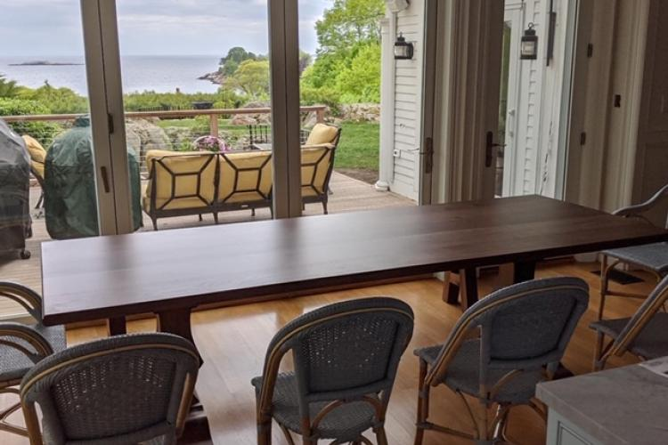 Ocean View Walnut Table with Pedestal Bases and Bench