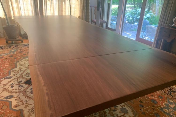 Flawless Walnut with Same-Slab Extension and Wishbone Base
