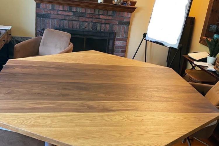 Hexagonal Oak and Walnut Top for Office Conference Table