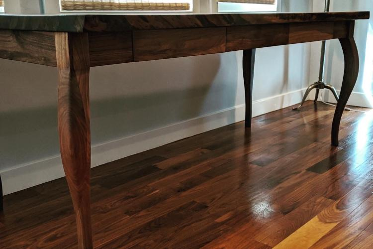 Claro Walnut Slab Desk with Cabriole Legs