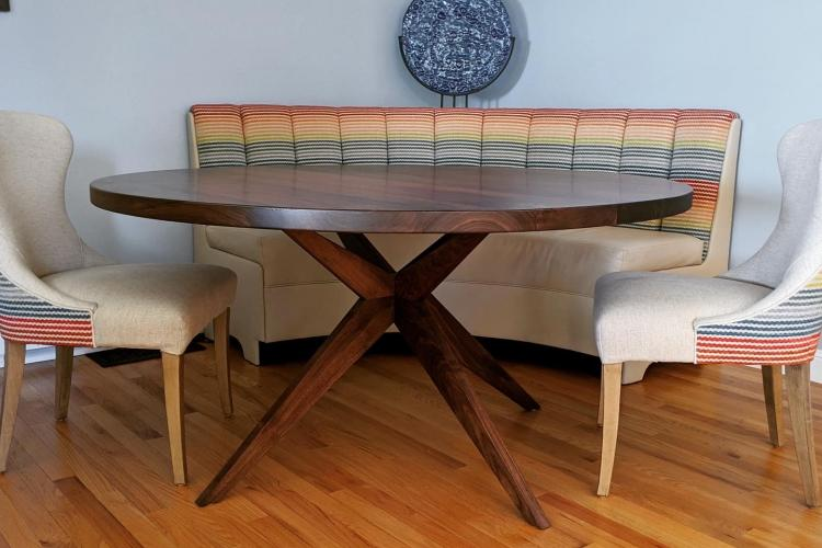 "60"" Round Walnut table with Cool Pedestal Base"
