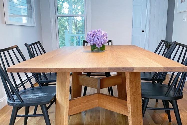 White Oak Table with Trestle Base in Medfield
