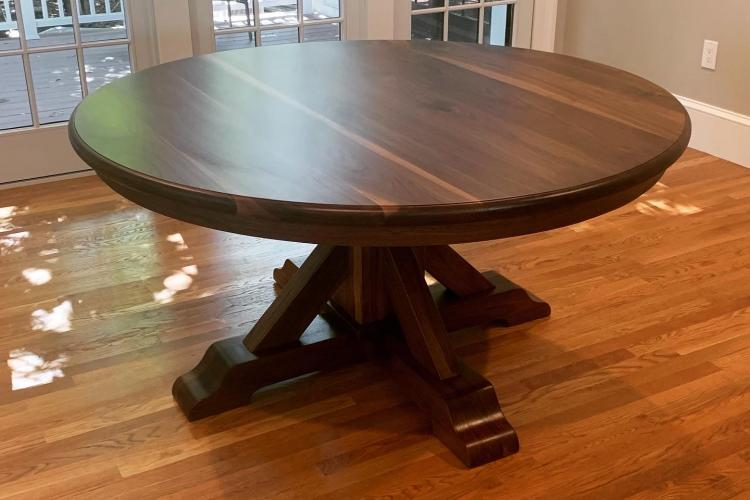 "60"" Walnut Round with Handmade Pedestal Base in West Roxbury"