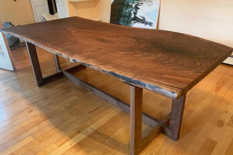 Amazing Walnut Slab with Custom Trestle Base in Needham