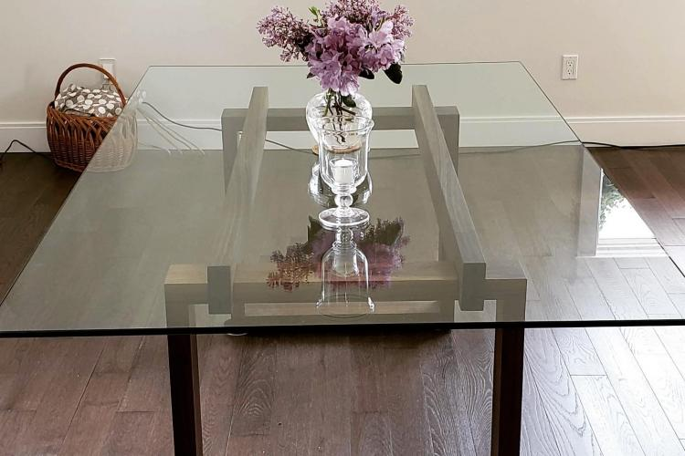 Glass Table with Custom Extending Walnut Base