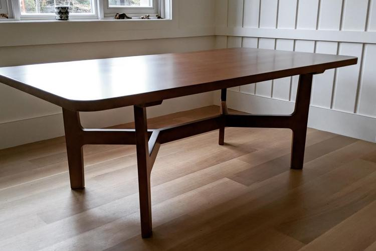 Maple Table with Brown Spray Finish in Wenham