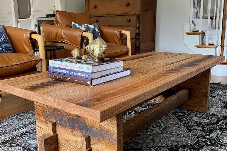 Reclaimed Oak Coffee Table with Subtle Brown Oil Tint