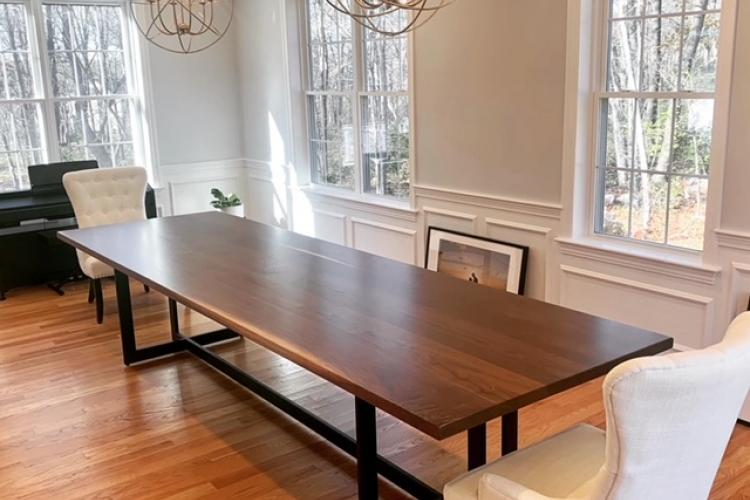 12' Walnut Table with Full Frame Steel Base