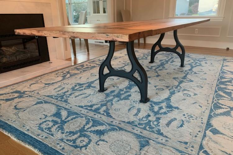 Cast Iron Base on a Reclaimed Oak Table on the North Shore