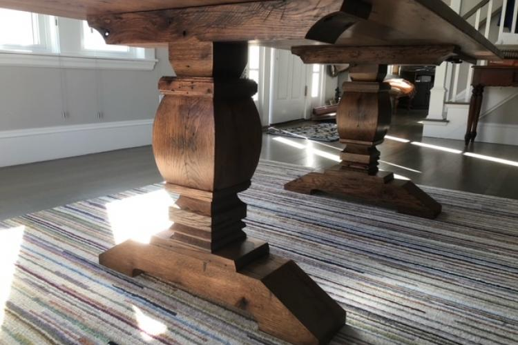 Reclaimed Oak in Lexington with Double Pedestal and Dark Stain