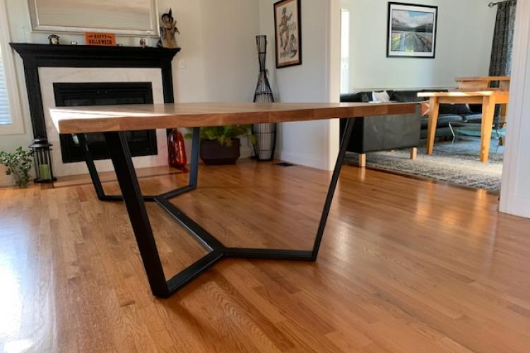 Big and Beautiful White Oak Table with Custom Steel Base