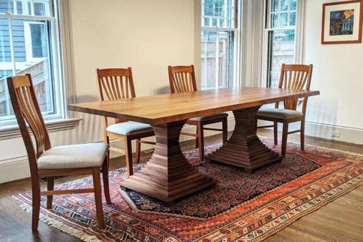 Stunning Walnut Table Bases in Brookline